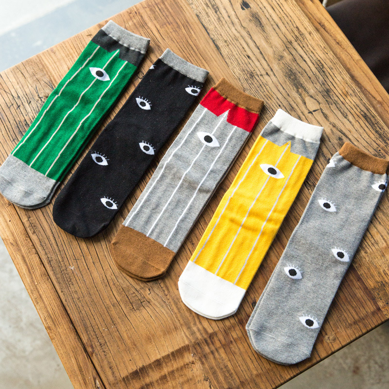 Autumn New Style Men Casual Striped Patchwork Eyes Crew Short Socks 1 Pair