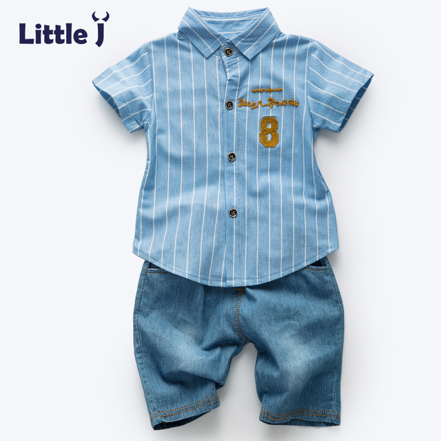 7a3148e280fd Clearance Fashion Knitted Striped Shirt+Jeans Short Sets Gentleman Suits  Baby Boy Summer Clothes Set Kids Toddler Boy Clothing