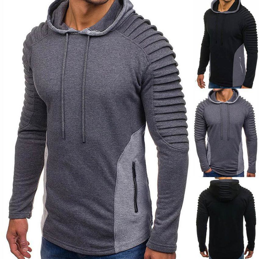 New Streetwear Men's Pleated shoulder hoodies Patchwork hooded sweatshirts men Hip hop long sleeve mens hoodies Clothes Men Tops