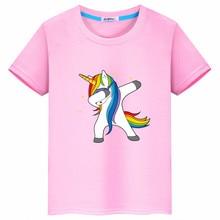 2019 summer cartoon fashion unicorn short-sleeved cotton T-shirt boy girl childrens clothing print pattern Heat transfer