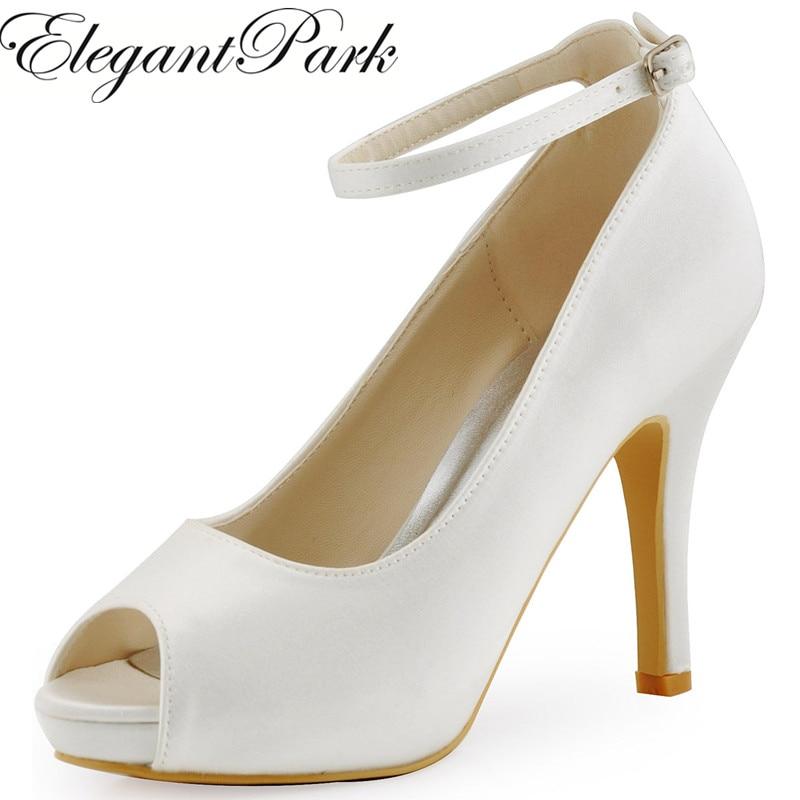 Мода женщина обувь HP1543I белого цвета слоновой кости Пип toe насосы женщин Свадебные туфли лодыжки ремень высокие каблуки атласная Свадебные туфли