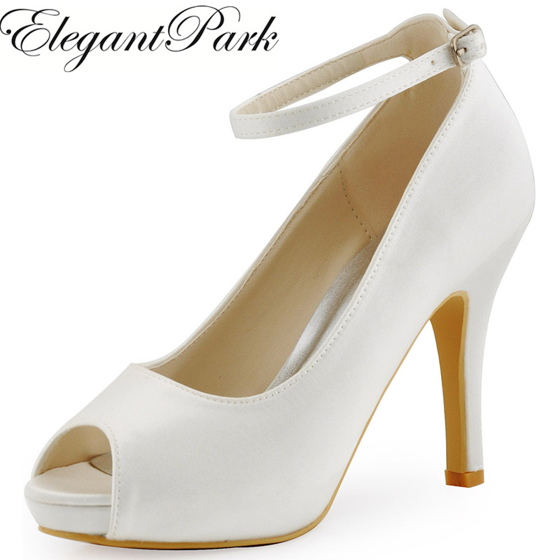 Elegantpark Fashion Woman Shoes HP1543I  White Ivory Peep Toe Pumps Women Wedding Shoes Ankle Strap High Heels Satin Bridal Shoes