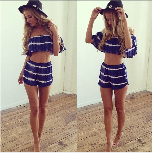 European Fashion Blue White Striped 2 Piece Set Women Shorts And Top 2015  Summer Bodysuits Ladies two piece Short Pants set 4fe9efba2c