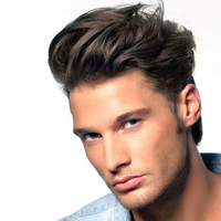 Eseewigs Brown Human Hair Men Toupee #6 Color Wavy European Remy Hair Swiss Lace Front Toupee Skin PU Full Hand Made for Man