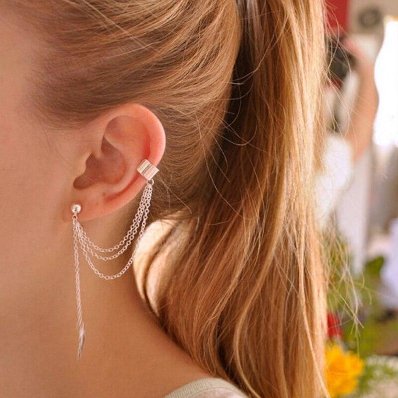 Stylish Silver Color Streamlined Tassel Long Crystal Earrings Women Girl Jewelry Pendante Femme
