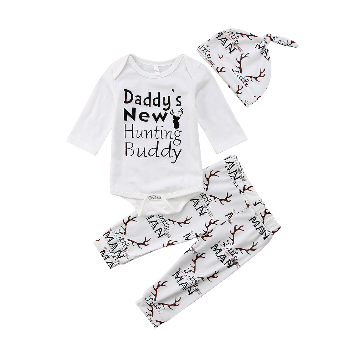 f37796fc46f Little Man Newborn Baby Boy Clothes Long Sleeve Letter Print Bodysuit Tops  Deer Long Pant Hat 3PCS Outfits Autumn Clothing Set