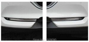 Image 3 - 2017 2020 マツダ CX 5 CX5 kf 車のフロント鋼トリムステッカーストリップガーニッシュ装飾クロームスタイリング 4 ピース/セット