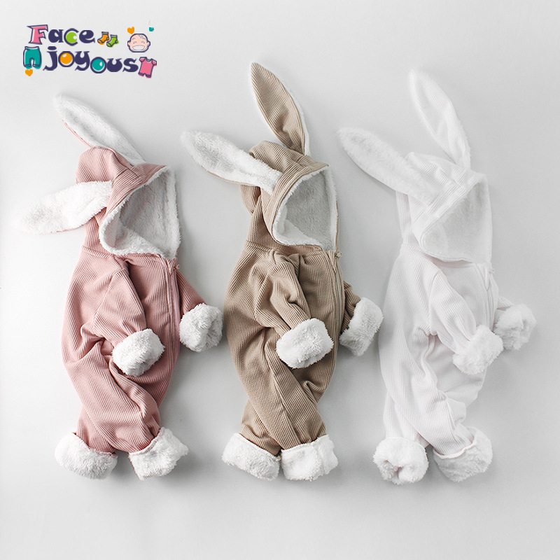 Winter Baby Rompers Newborn Girls Clothes Rabbit Ear Hooded Jumpsuit infant kids Costume Fleece Thick Baby boys Romper Outerwear