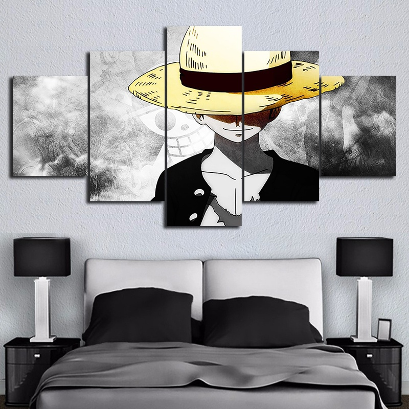 5 Piece HD Wall Art Anime Poster Picture One Piece Monkey D. Luffy Poster Wall Painting for Home Decor