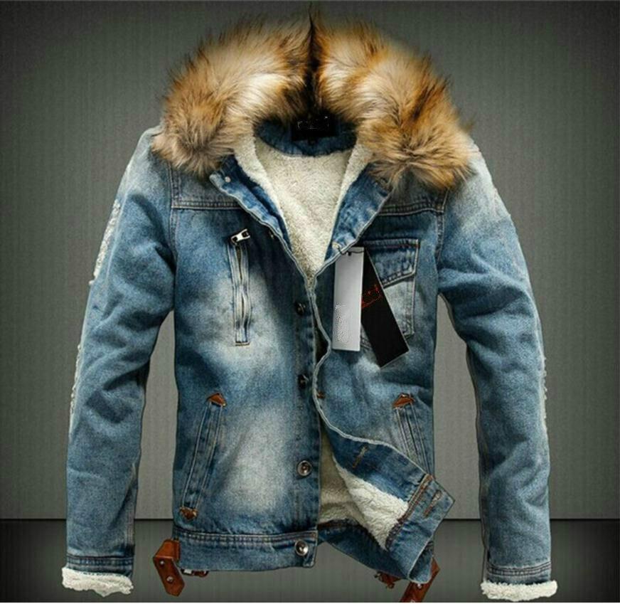 Mode Pure De Chaud D'hiver Lourds Col Cowboy Cheveux Noir Ajoutée À Garder Veste Casual Slim Fit Color Manteau bleu La Au Denim Chaleur Nk8Xn0OwP