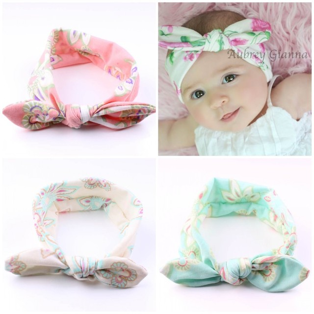 New Hot Baby Headband Boho Rabbit Ears Tie Knot Floral Turban Hairband Baby  Girls Head Wrap Elastic Hair Bands Hair Accessories b1ba2d6b6ab