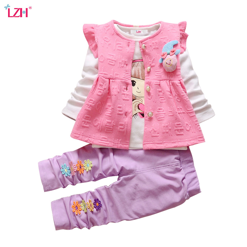 LZH Newborn Clothes 2018 Autumn Winter Baby Girls Clothes T-shirt+Coat+Pant 3pcs Baby Girls Outfit Suit Baby Set Infant Clothing 2016 christmas newborn infant baby boy girl clothes love heart bodysuit romper pant hat 3pcs outfit autumn suit clothing set