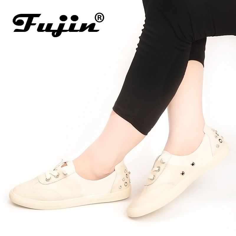Fujin New Arrivals Shoes Ladies Autumn Flats Shoes Fashion Crystal Women Shoes 2018 Genuine leather Spring Loafers Sneakers