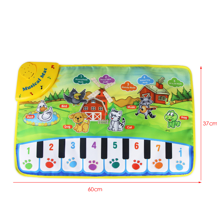 Animal Sounds Piano Note Music English Learn Interactive Learning Machine Baby Play Mat Kids Vocal Carpet Toy Xmas Gift