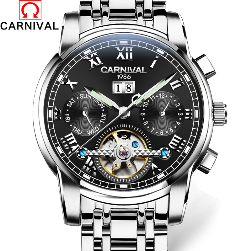 где купить CARNIVAL Mens Tourbillon Mechanical Watches Top Brand Luxury Full Steel Waterproof Watch Men Business Automatic Wristwatches по лучшей цене