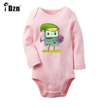 Funny Adventure Time Beemo BMO Cosplay Legend of Zelda Art Design Newborn Baby Bodysuit Toddler Onsies Jumpsuit Cotton Clothes adventure time backpack with finn and jake cn bmo backpack beemo be more cartoon robot high grade pu green