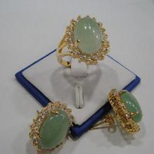 Горячая Распродажа стиль> Горячее предложение! Серьги-кольца с натуральным зеленым камнем и кристаллами