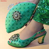 doershow green Shoes and Bag Set for Women Summer African Style italian Shoes and Bag Set for party Custom products!!SXX1 43