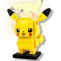 Éclairer les idées Pikachu chat piquer elfe balle Anime avance poupées poche monstres détective blocs de construction compatibles