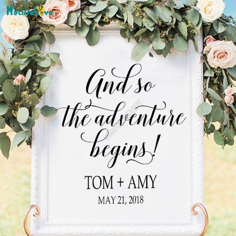 DIY свадебных доска Стикеры Приём знак пользовательское имя и даты и поэтому наш приключение начинается! Добро пожаловать свадьба знак B756