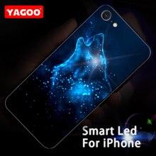 Yagoo Smart Led Glow Phone Case For iPhone 7 8 Plus Cases Back Cover Apple Animal Patterned Funda Luxury Glass Silicone Capa
