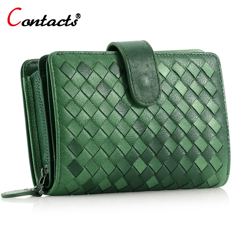 CONTACT'S Knitting Genuine Leather Women Wallet Long And Short Purse Female Card Holder Phone Clutch Women Clutches Luxury Brand