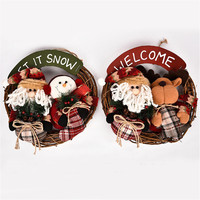 2017 Lovely Santa Claus Snowman Reindeer Doll Christmas Decoration Xmas Tree Hanging Ornaments 35x35cm Garland Gift