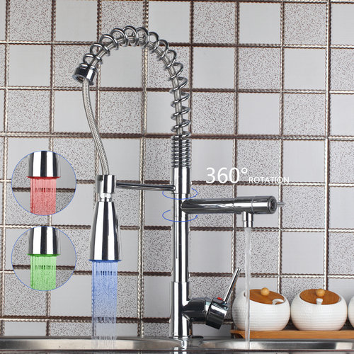 Chrome Brass Polished Kitchen Faucet  Sink Deck Mounted Torneira LED  Swivel Pull Out Down Hot And Cold  Mixer Tap solid brass led swivel spout kitchen sink faucet pull out mixer tap chrome polished