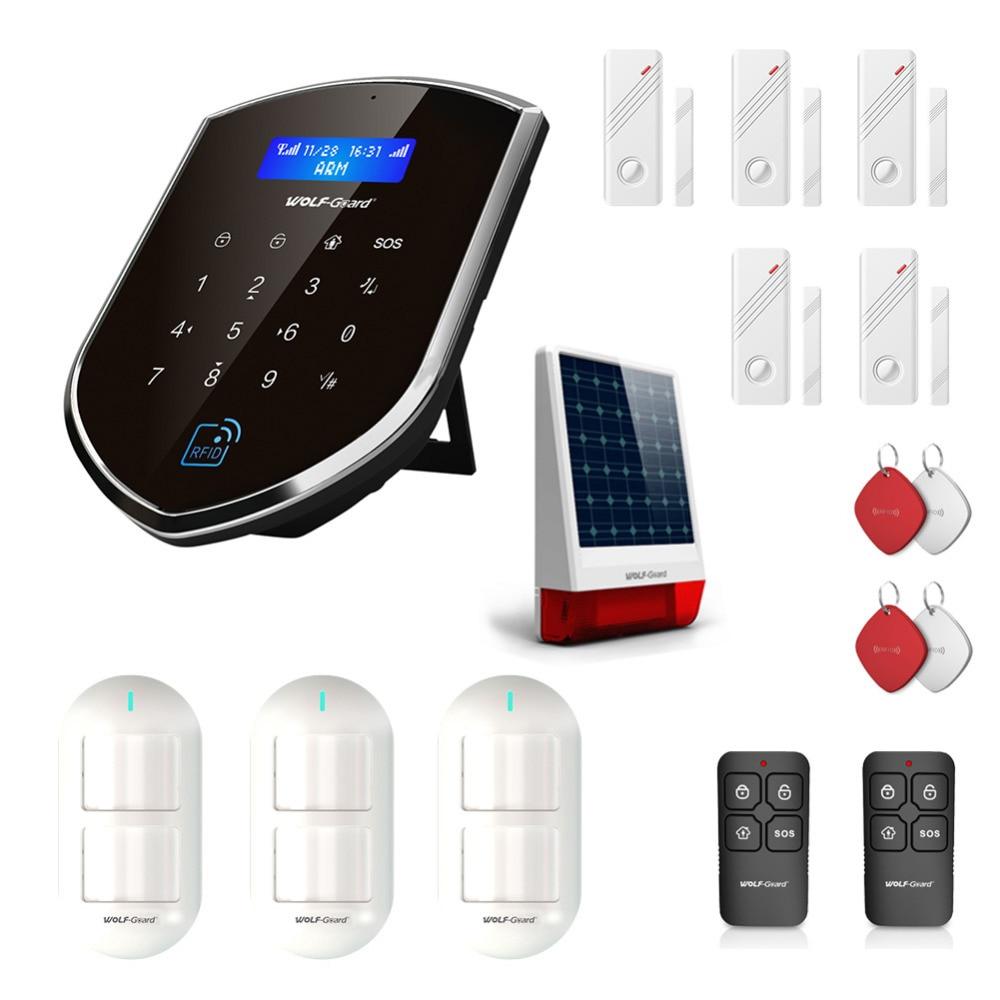 все цены на Wolf-Guard Wireless Home Alarm Security Burglar System 3G Sheild Host with 120dB Solar Siren Door/PIR Motion Sensor Detector онлайн