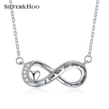 SILVERHOO 925 Sterling Silver Pendant Necklace I Love You To The Moon And Back Series Xmas Valentine Gift Womens Jewelry