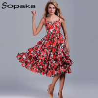 SOPAKA Sexy Summer Spaghetti Strap Runway Design Strapless Sundress For Beach Casual Floral Cascading Ruffle Women