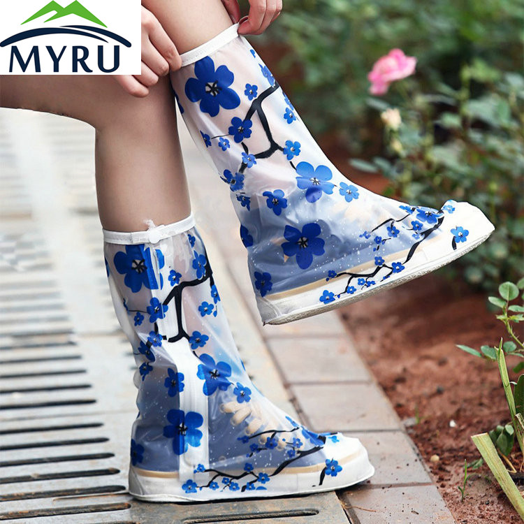 The rainproof shoe cover bottom thick boots are men and women waterproof shoe cover slip rain boots for adults