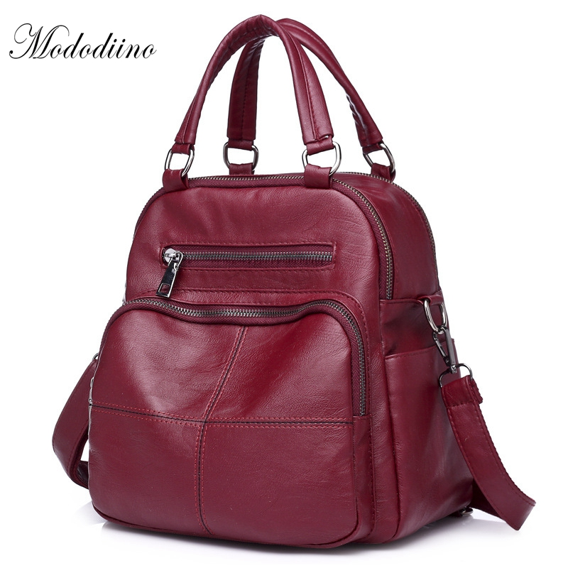 Mododiino PU Leather Waterproof Backpacks Female High Quality Womens Travel Bags Vintage Shoulder Bags Soft School Bags DNV0205a
