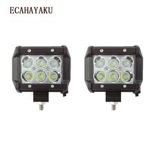 ECAHAYAKU 2pcs Led Drl 18W  4inch Spot Work Light 12V 24V for Offroad Lada Niva Uaz Toyota Audi Mazda BMW fog driving lamp