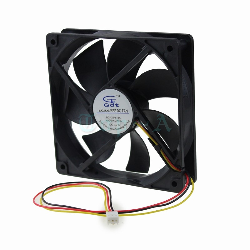 Gdstime 5 Pcs 12cm DC 12V 3 Wire 3Pin FG 120x120mm Computer Case Brushless Cooling Cooler Fan 120mm x 25mm 12025 gdstime 1 pcs dc 12v 120x120mm 3 pin 4 pin 12cm led fan 120mm x 25mm pc rgb fan hydraulic 12025 computer case cooling radiator