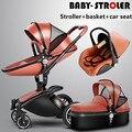 3 1 1 bebê Aulon narra couro two-way carrinho de bebê carrinho de amortecedores de carro do bebê