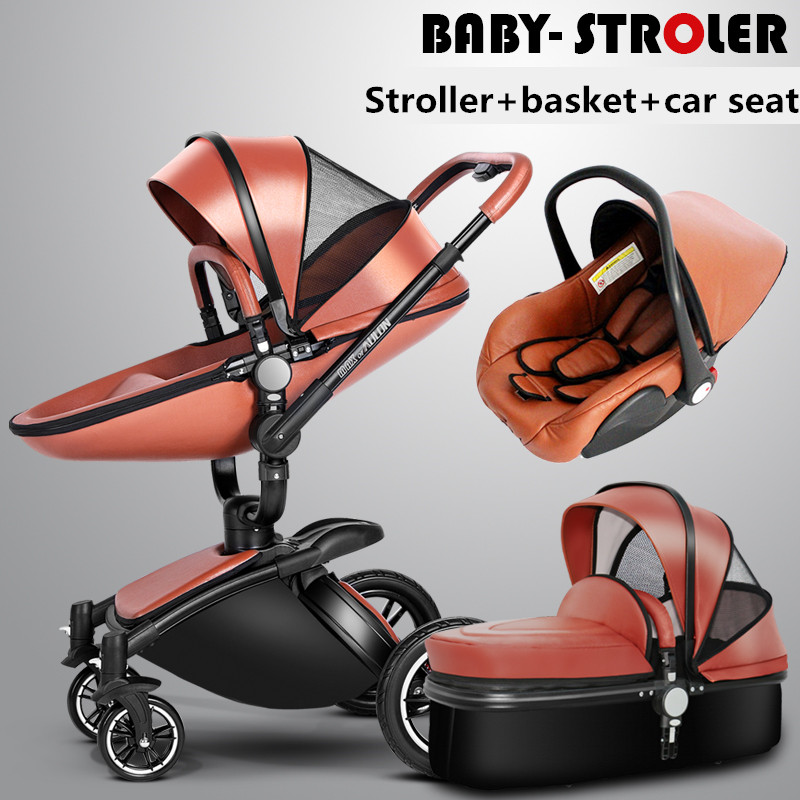 3 in 1 high quality 2 in 1 baby strollers Aulon recounts baby pram leather two-way shock absorbers baby car cart trolley pink high profile baby trolley ultra light can be lying down two way four wheel shock baby trolley