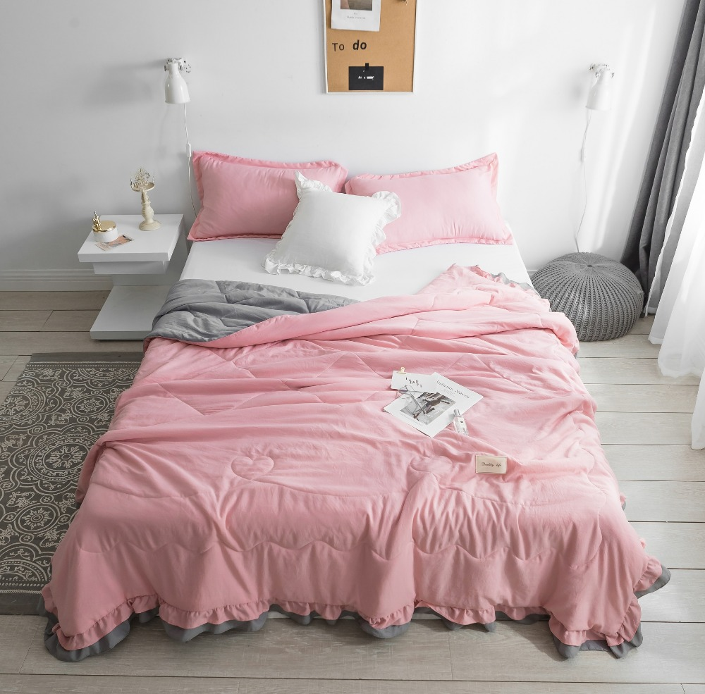 Princess style Pure Color Summer Quilt Bedspread Blanket pink Comforter soft Bed Cover Twin full Queen