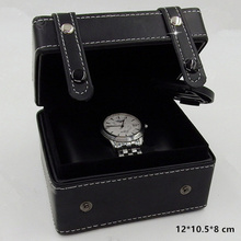 Top Quanlity Leather Watch Box Black Special Design Luxury Brand Watch Storage Box With Button Fashion