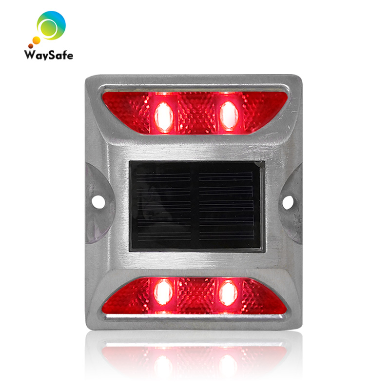 Flash Mode Red LED Garden Signal Light Aluminum Shell Solar Power IP68 3m Reflector Road Stud
