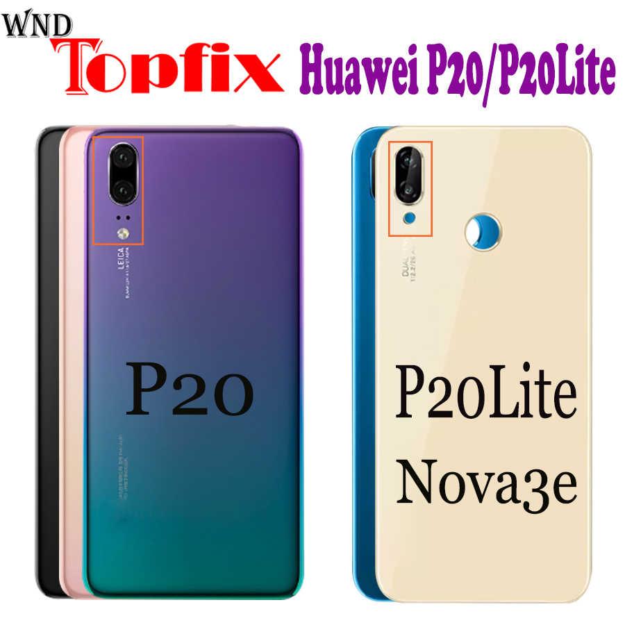 Para Huawei P20 Lite Repuesto Trasero Batería De Espalda Cubierta Carcasa de vidrio con pegamento