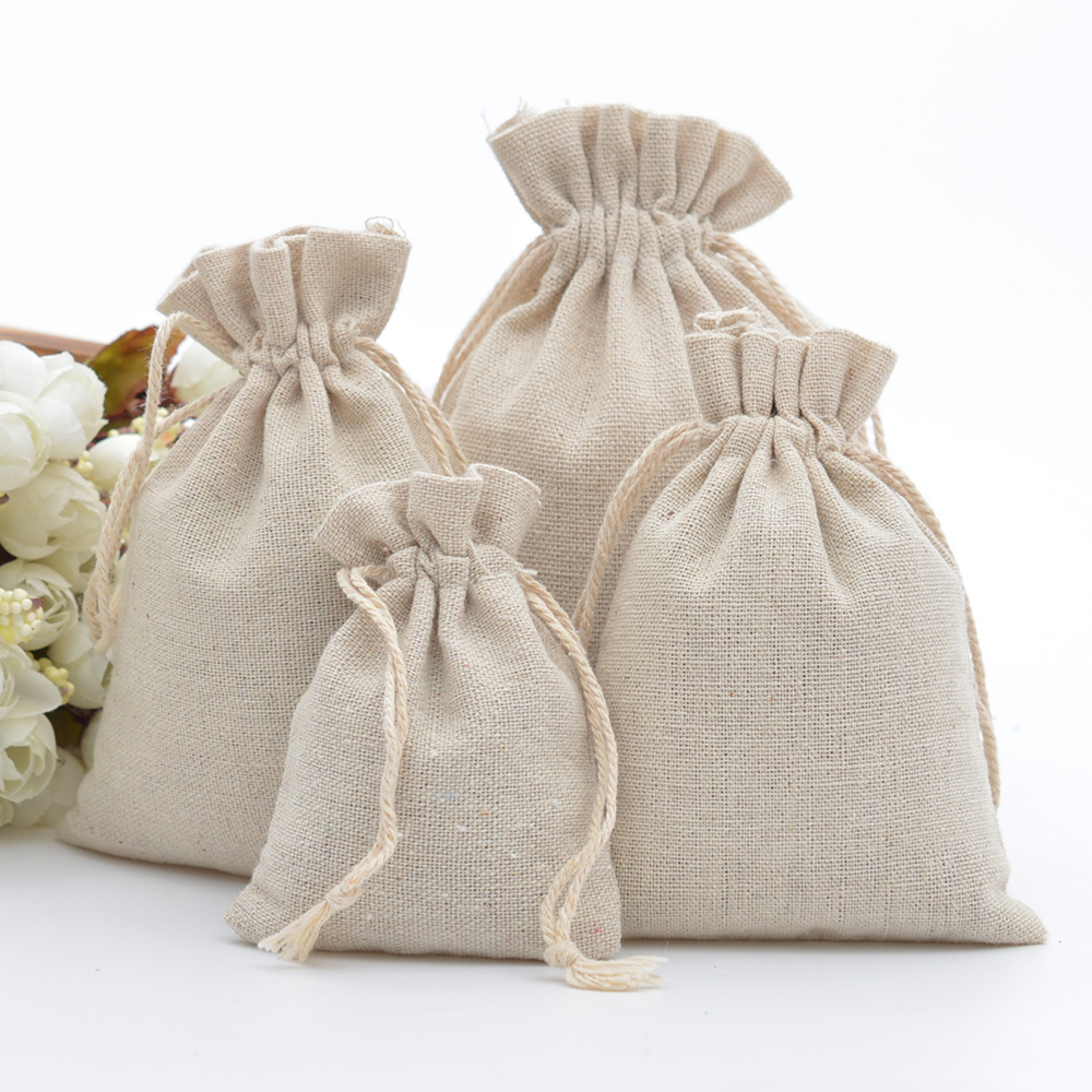 50pcs 100% Cotton Drawstring Bags Rustic Cotton Muslin Gift Bags Xmas Wedding Favors Sack Jewelry Packaging Bag Accept Customize