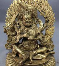 9 Tibet Brass Buddhism Vajra 4 Arms Mahakala Buddha Joss Jambhala Statue