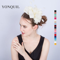 Women Ivory Hair Bow Fascinator Imitation Sinamay Headwear Hair Comb Bridal Feather Accessories For New Year