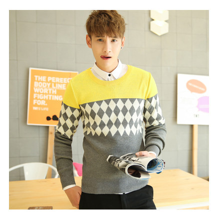 Мужская одежда пуловер с круглым вырезом свитер осень и зима свитер мода плюс бархат утолщение основной мужские пуловеры - Цвет: z006 dulwich