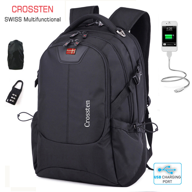 Crossten Multifunctional 16″ Laptop Computer Backpack Waterproof  Versatile Schoolbag Travel Bag Rucksack with USB Charging Port