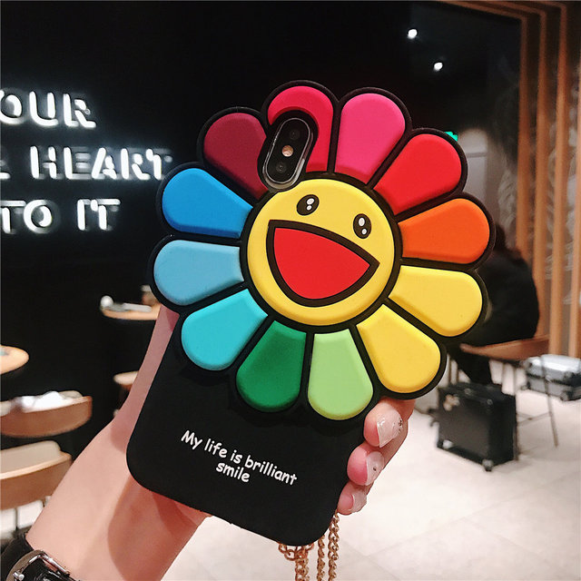 Colorful Sun flower rosto sorridente soft case de Silicone Para iPhone iPhone 7 Plus 6 S 7 8 X Bonito Engraçado tampa traseira Para o iphone XS Max XR