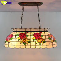 FUMAT Stained Glass Living Room Chandelier Rose European Chandeliers LED lustre led light Lamp for Restaurant Dining Room Bar