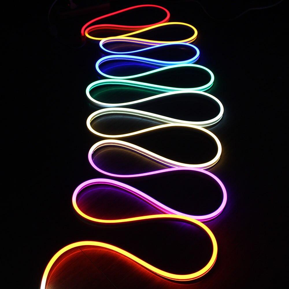 5m Flat Chasing LED Digital Neon Flex Waterproof 11x19mm 24v programmable RGB Neon Decoration Light Strip DMX Holiday Lighting