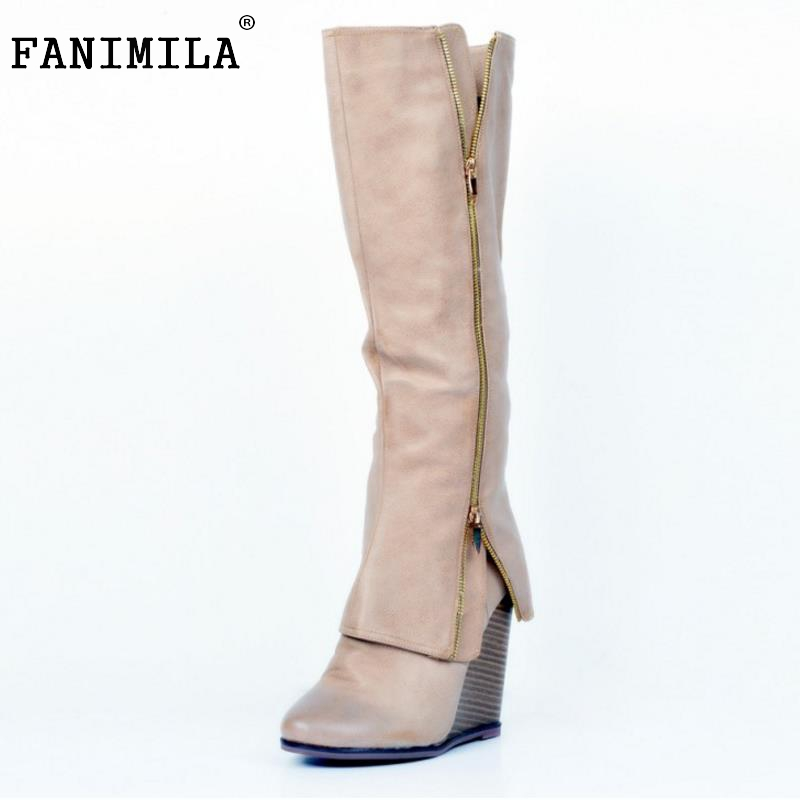 Size 34-47 Women Shoes Autumn Winter Ladies Fashion Wedge High Heel Boots Knee Thigh High Suede Long Boot Brand Designer women round toe ankle boots woman fashion platform wedge botas ladies brand suede leather high heel shoes footwear size 34 47